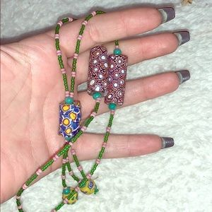 Plunging Bohemian Multi Colored Beaded Necklace